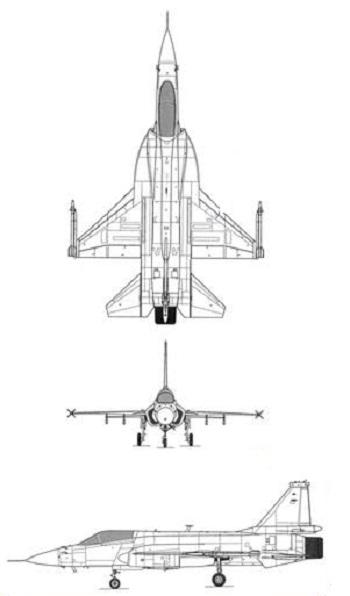 Plan 3 vues du Chengdu/PAC JF-17 Thunder