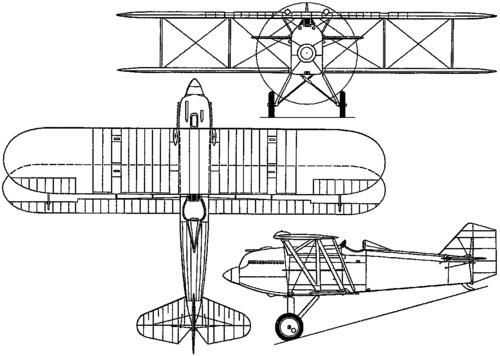 Plan 3 vues du Curtiss PW-8 Hawk