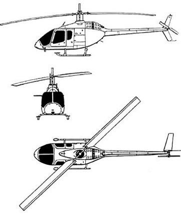 Plan 3 vues du Bell 505 Jet Ranger X