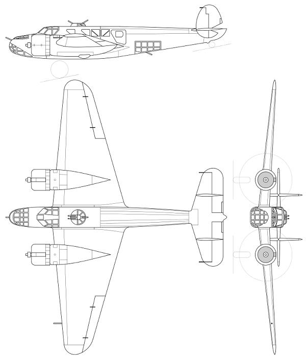 Plan 3 vues du Caproni Bergamaschi Ca.135