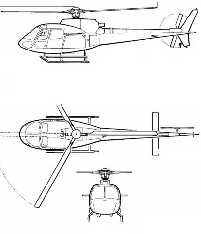 Plan 3 vues du Airbus Helicopters H125 / H125M