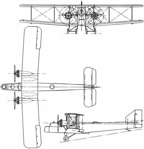Plan 3 vues du Handley Page HP.24 Hyderabad – HP.33 Hinaidi