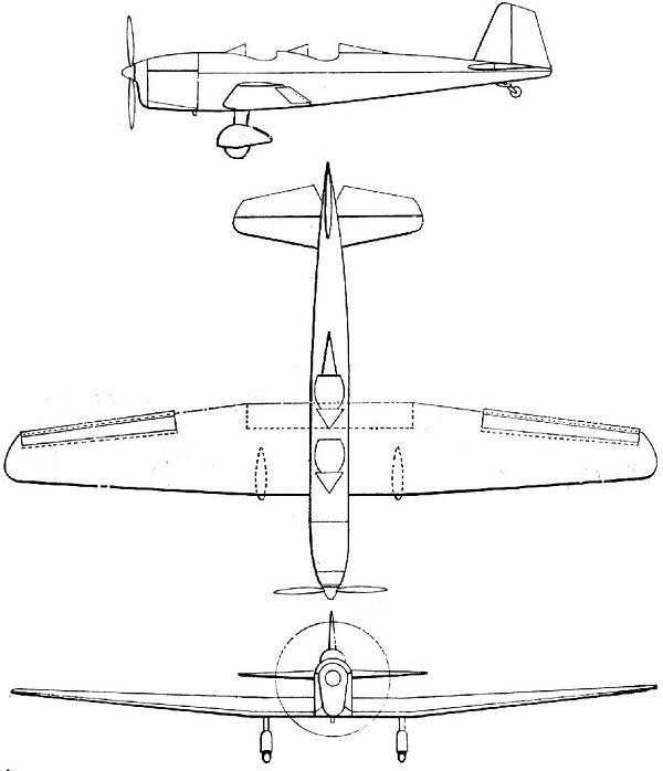 Plan 3 vues du Caudron C.600 Aiglon