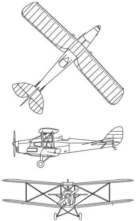 Plan 3 vues du De Havilland DH.83 Fox Moth