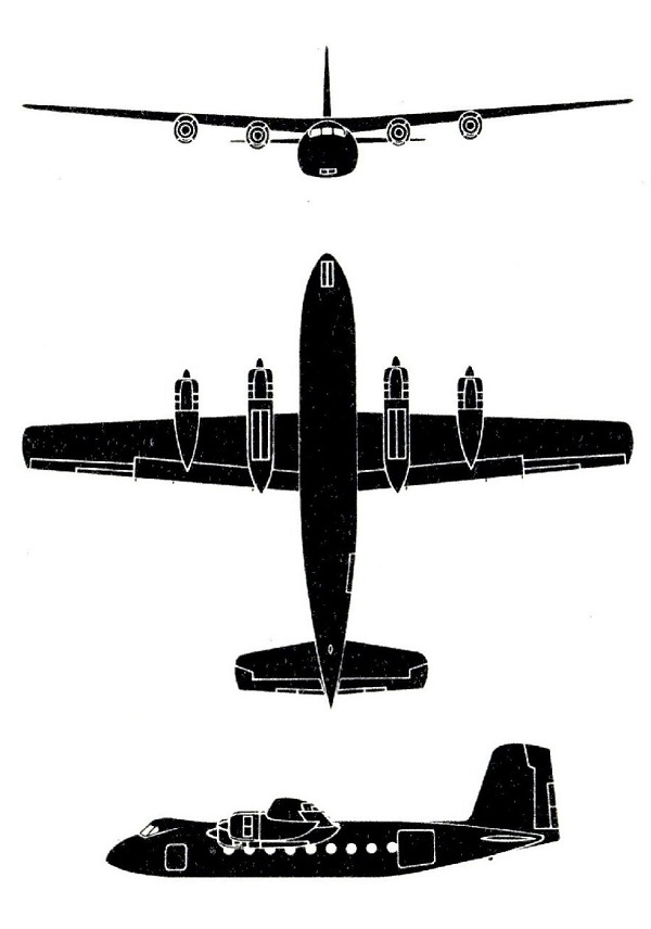 Plan 3 vues du Handley Page HPR.3 / HPR.7 Herald