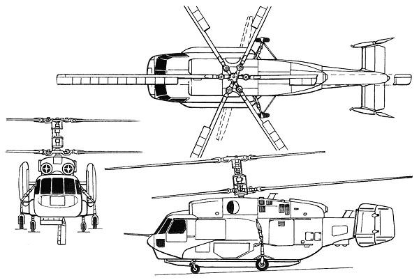 Plan 3 vues du Kamov Ka-31 'Helix-D'