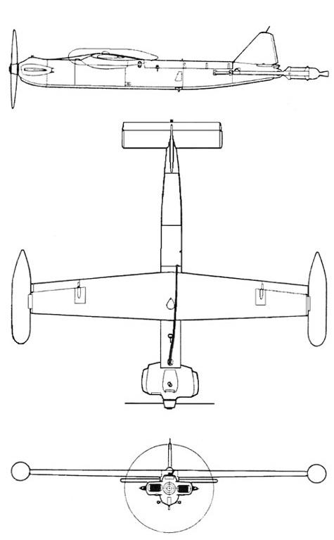 Plan 3 vues du Northrop MQM-36 Shelducks / MQM-57 Falconer