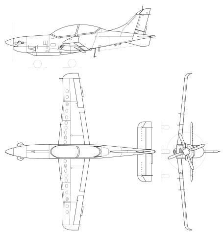 Plan 3 vues du P.Z.L. PZL-130 Orlik