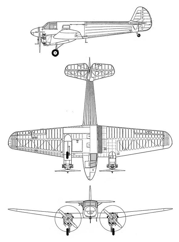 Plan 3 vues du Yakovlev Yak-6 'Crib'