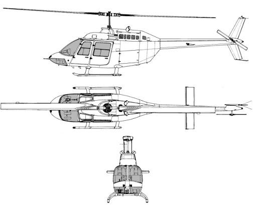 Plan 3 vues du Bell 206 Jet Ranger