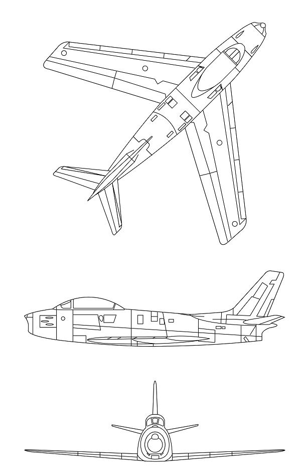 Plan 3 vues du Canadair CL-13 Sabre