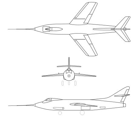 Plan 3 vues du Douglas D-558-2 Skyrocket