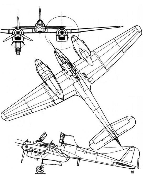 Plan 3 vues du Focke-Wulf Fw 187 Falke