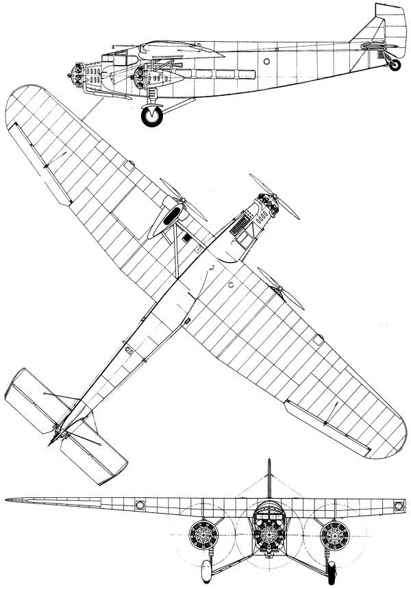 Plan 3 vues du Ford 4-AT / 5-AT Trimotor