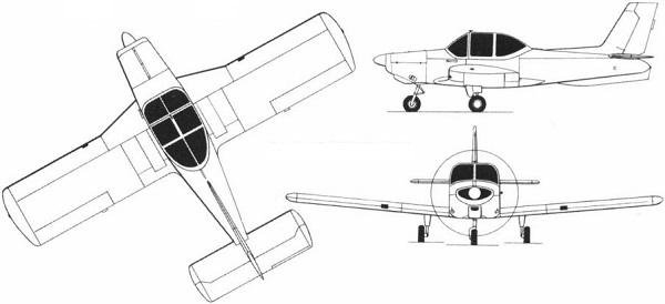 Plan 3 vues du Aerotec A-122 Uirapuru