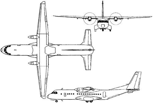 Plan 3 vues du Airbus Military C-295