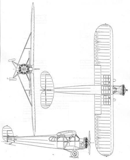 Plan 3 vues du Fairchild F-1