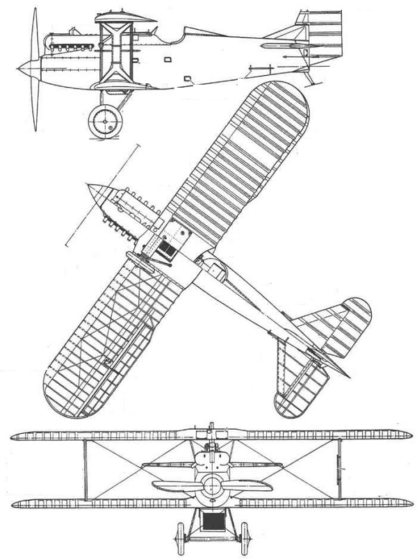 Plan 3 vues du Grigorovich I-2
