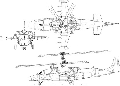 Plan 3 vues du Kamov Ka-52 Alligator 'Hokum-B'