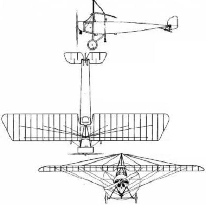 Plan 3 vues du Pfalz E.III