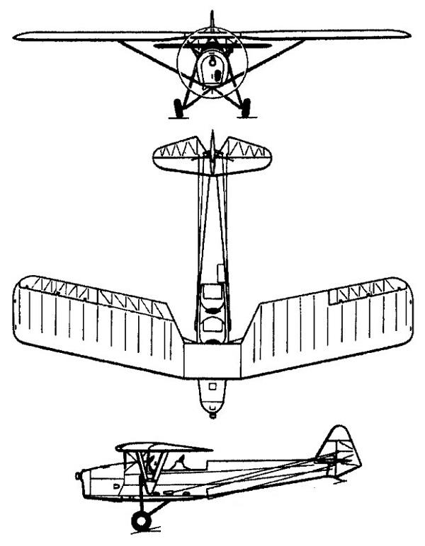 Plan 3 vues du R.W.D. RWD-8