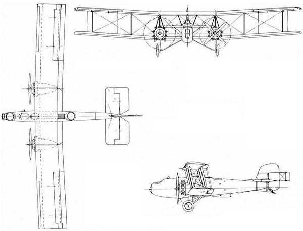 Plan 3 vues du Boulton Paul P.29 Sidestrand