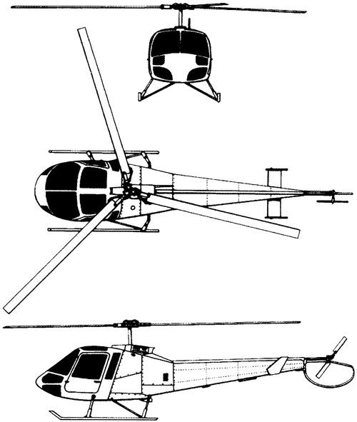 Plan 3 vues du Enstrom 480