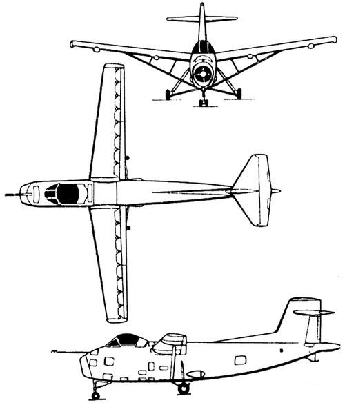 Plan 3 vues du Hunting Percival H.126
