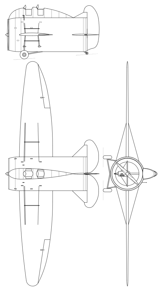 Plan 3 vues du Caproni Stipa