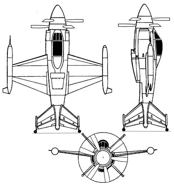 Plan 3 vues du Lockheed XFV Salmon