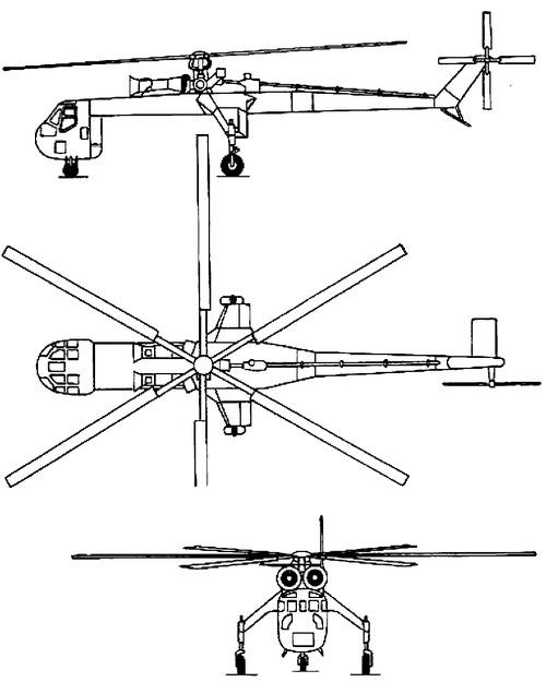 Plan 3 vues du Erickson S-64 Aircrane
