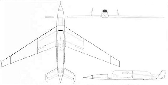 Plan 3 vues du Ryan AQM-91 Firefly