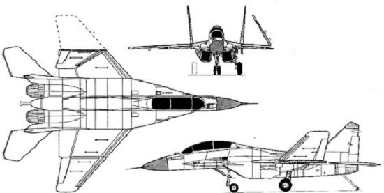 Plan 3 vues du Mikoyan MiG-29K 'Fulcrum-D'