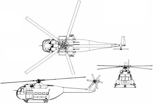 Plan 3 vues du Agusta A-101