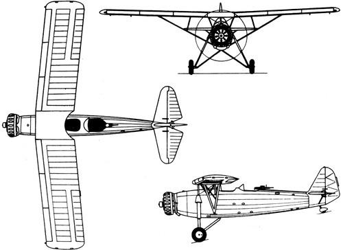 Plan 3 vues du R.W.D. RWD-14 Czapla