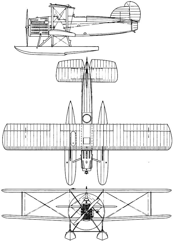 Plan 3 vues du Douglas DT