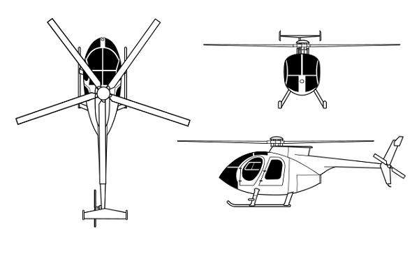 Plan 3 vues du Nardi NH.500