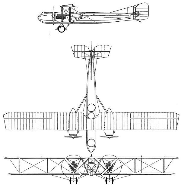 Plan 3 vues du Caudron R.11