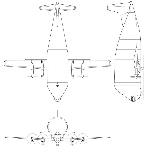 Plan 3 vues du Aero Spacelines B377SG Super Guppy