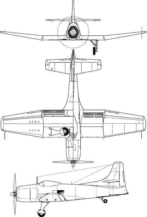 Plan 3 vues du Kaiser-Fleetwings XBTK