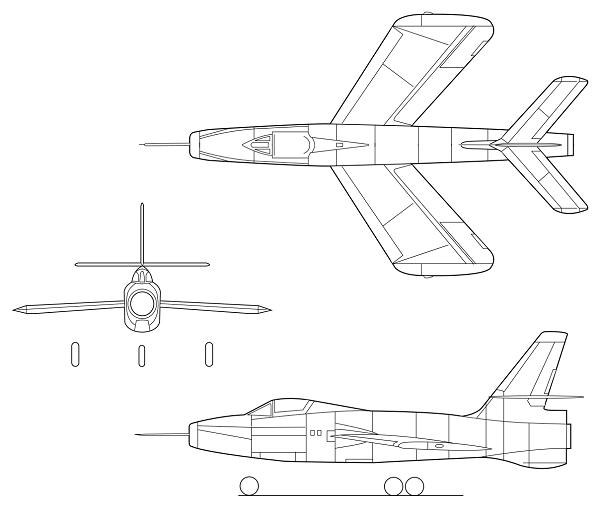 Plan 3 vues du Republic XF-91 Thunderceptor