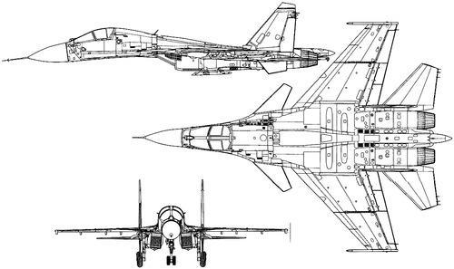 Plan 3 vues du Sukhoi Su-27KUB 'Flanker-D'