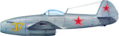 Profil couleur du Yakovlev Yak-15 'Feather'