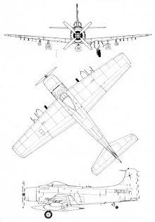 Plan 3 vues du Douglas A-1 Skyraider