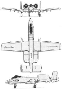Plan 3 vues du Fairchild-Republic A-10 Thunderbolt II