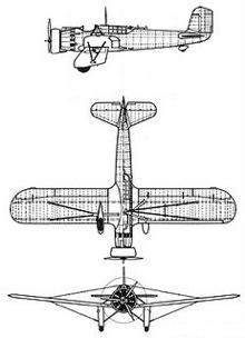 Plan 3 vues du Curtiss A-8/A-12 Shrike