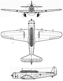 Plan 3 vues du Vultee A-19 (V-11)