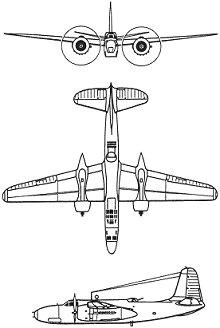 Plan 3 vues du Douglas A-20 Havoc