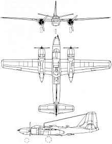 Plan 3 vues du Douglas A-26 Invader