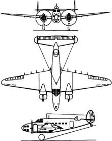Plan 3 vues du Lockheed A-28 Hudson